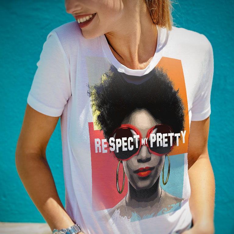 Smiling woman wearing Respect My Pretty t-shirt.